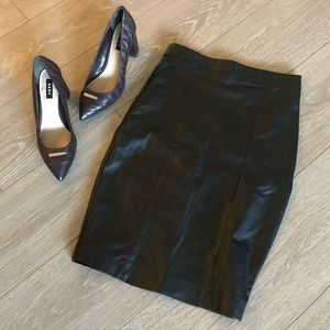 TopShop Faux Leather Black Pencil Skirt